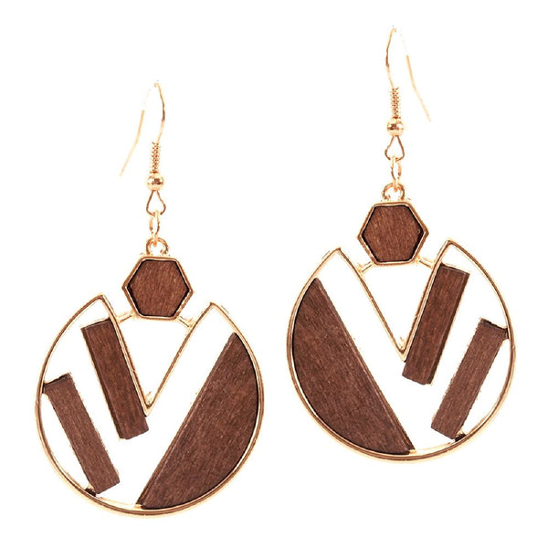 Natural Wood Accent Geometric Open-cut Metal Round Dangle Earring