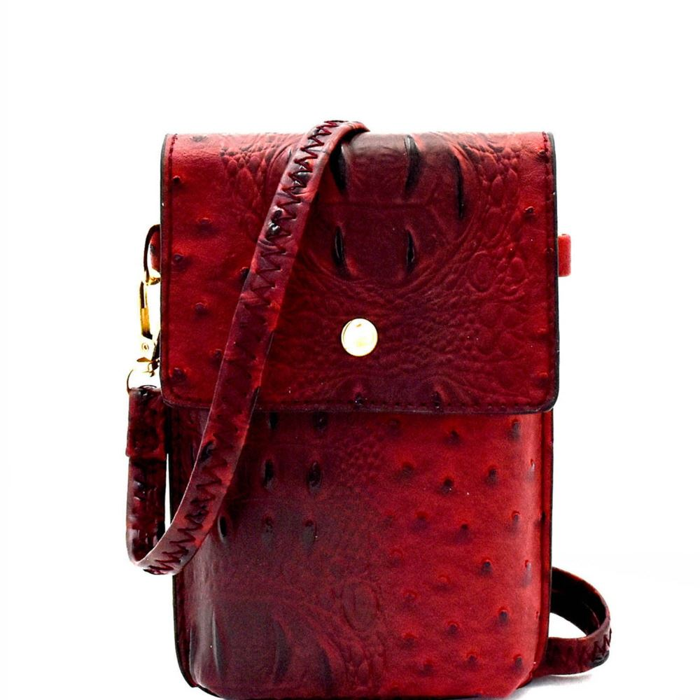 Ostrich Print Embossed Small Cellphone Cross Body Bag