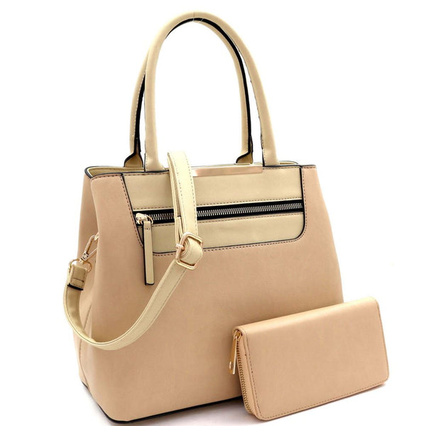 Zipper Pocket Accent 2-Way PU Leather Satchel Bag and Wallet SET