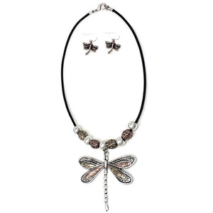Metal Bead Embellished Dragonfly Pendant Necklace Set