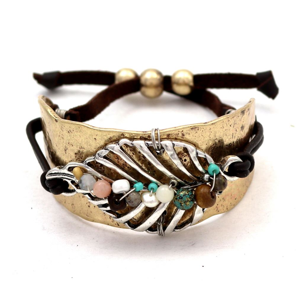 Bead Accent Metal Leaf Charm Boho Cuff Leather Bracelet