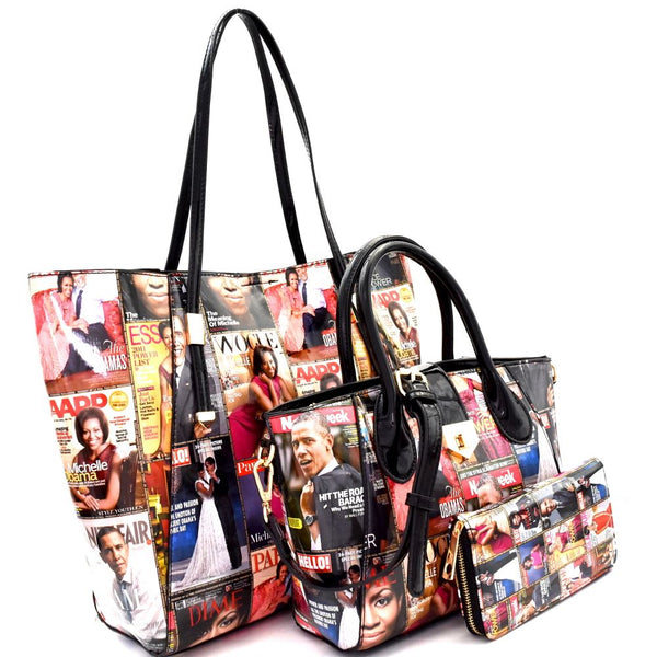 Michelle Obama Magazine Print Patent 3 in 1 Tote Value SET