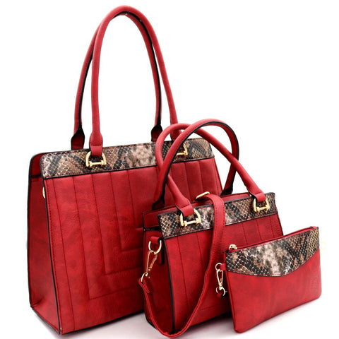 Snake Trim Quilted 3 in 1 Tote Value SET