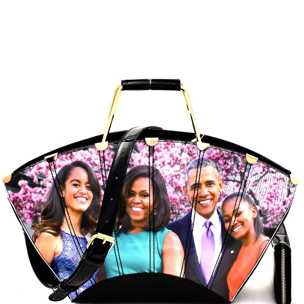 Michelle Obama Magazine Print Patent Satchel Purse and Wallet SET