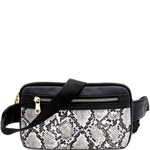 Snake Print Multi Pocket Roomy Square Fanny Pack