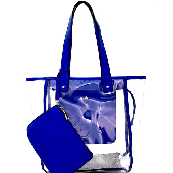 Transparent Clear 2 in 1 Shopper Tote Purse with Removable Wristlet