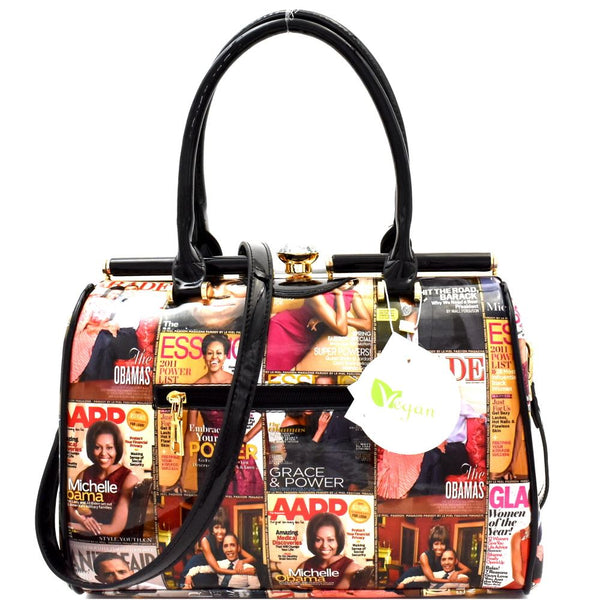 Michelle Obama Magazine Print Compartment Dome Satchel Bag and Wallet SET