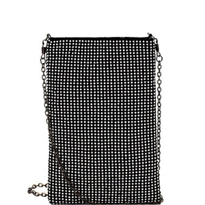 Allover Rhinestone Embellished Pouch Cross Body