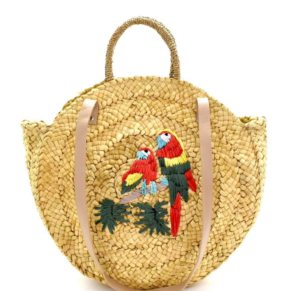 Parakeet Embroidered Woven Straw 2-Way Round Satchel Purse