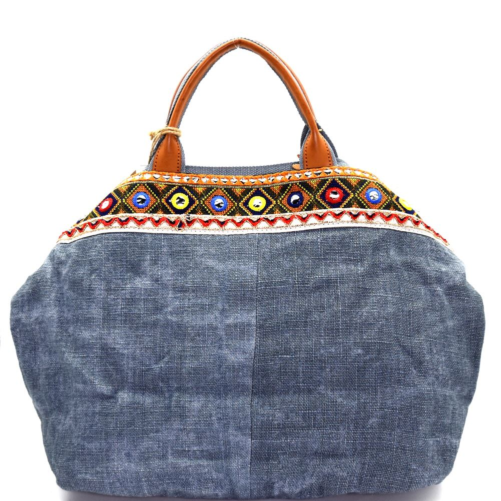 3e4d2cea468 Flower and Ethnic Embroidery Folded Corner Linen Tote Bag Purse ...