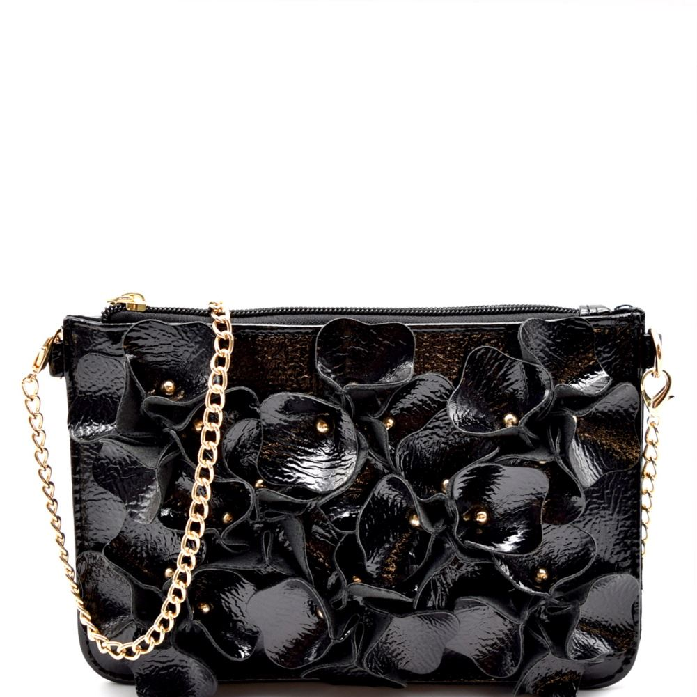 Studded Flower Accent Patent PU Leather Wristlet Cross Body Bag