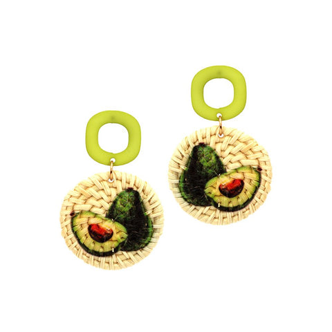 Avocado Print Straw Acrylic Post Novelty Earring