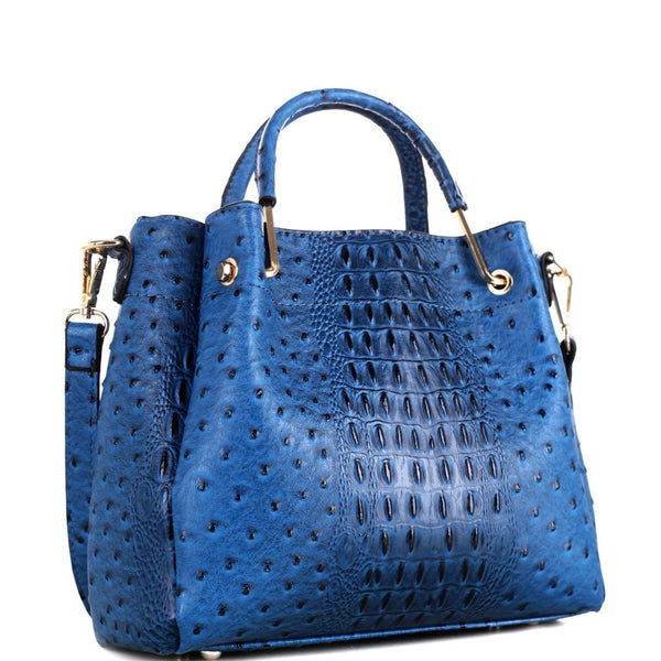 Metal Handle Medium 2 Way Ostrich Print Bucket Satchel Bag