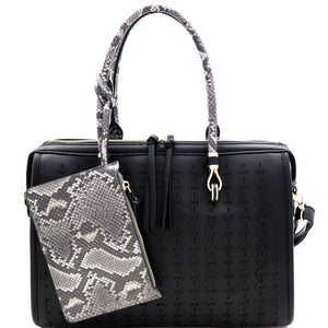 Snake Trim 2 in 1 Doctor Bag Boston Satchel Wristlet SET