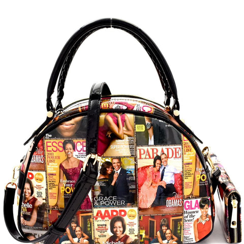 Michelle Obama Magazine Print Bottom Compartment Satchel Bag and Wallet SET