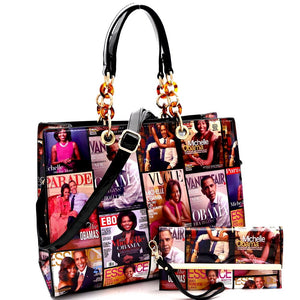 Michelle Obama Magazine Print Linked Chain Accent 2 in 1 Tote SET
