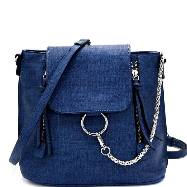 Ring and Chain Accent Convertible Backpack