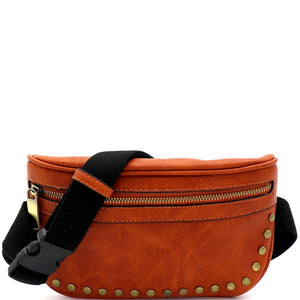 Brass-tone Studd Fashion Fanny Pack Sling Bag