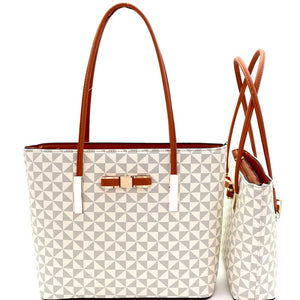 Bow Accent Monogram Two-Tone Twin Tote Purse Value SET