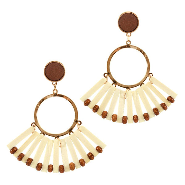 Natural Wood Fan Tassel Round Boho Earring