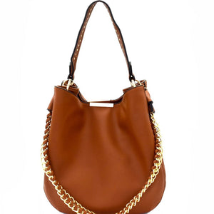 Studded Strap Chain Accent Hobo Bag