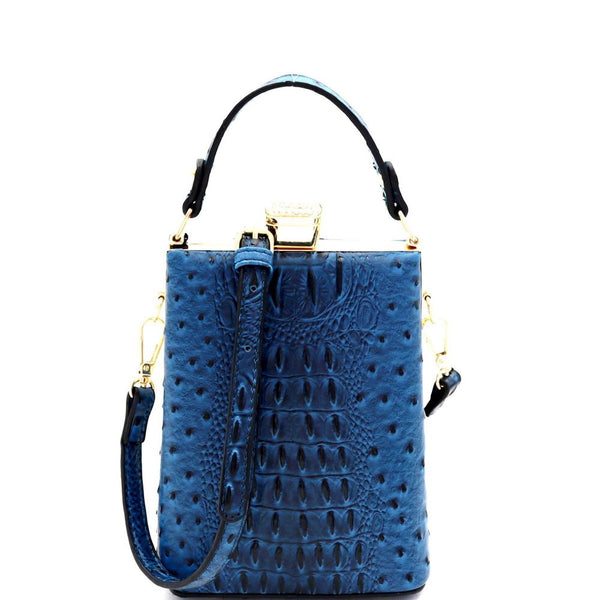 Ostrich Print Jewel-Top Frame 2-Way Small Satchel