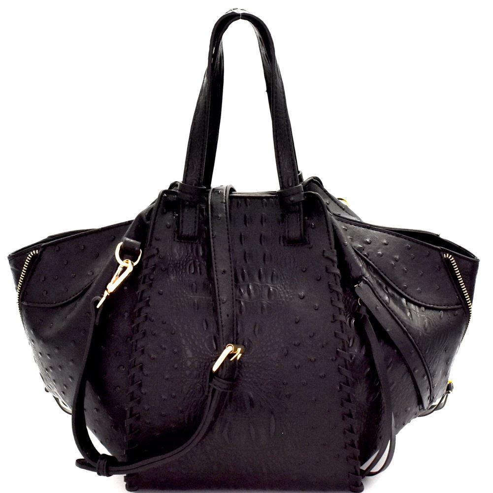 Zipper Accent Ostrich Embossed 2-Way Satchel Purse