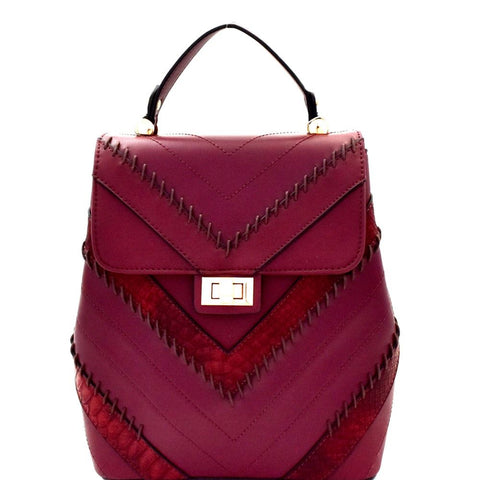 Chevron Pattern Whipstitched Patchwork Backpack