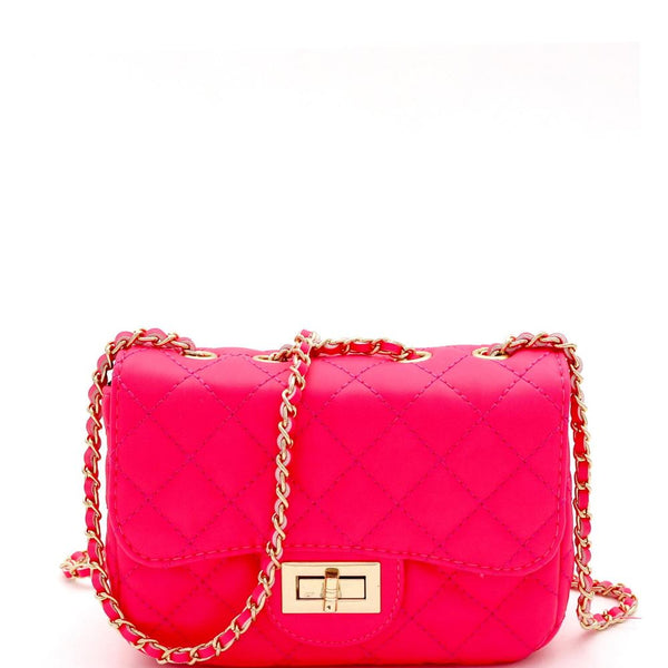 Quilted Turn-Lock Chain Neon Cross Body Shoulder Bag