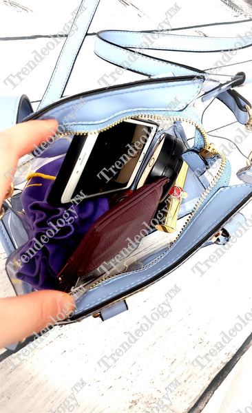 Hardware Accent Transparent Clear Structured Medium Satchel Bag