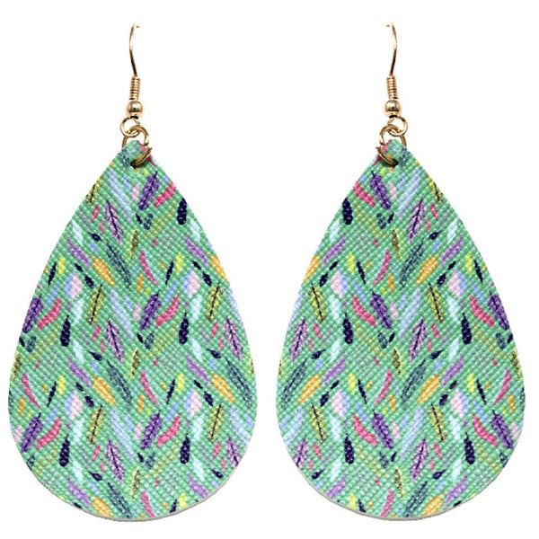 Feather Multicoloured Pattern Print Canvas Teardrop Earring