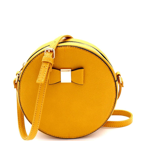 Bow Accent Round PU Leather Cross Body Shoulder Bag