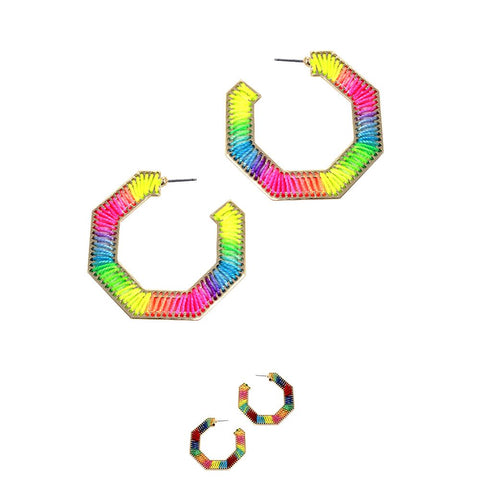 Mixed Neon Color Thread Open-cut Hoop Boho Earring