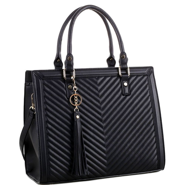 Tassel Accent Chevron Quilted 2-Way Structured Satchel Bag