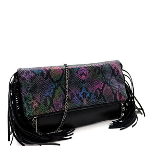 Fringed Side Metallic Snake Print Fold-Over Clutch Shoulder Bag