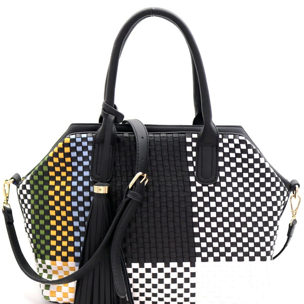 Tassel Accent Multi-Colored Woven 2-Way PU Leather Satchel Bag