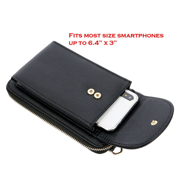 Saffiano Faux Leather Cellphone Compartment Wallet Crossobdy