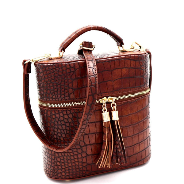 Crocodile Print Tassel Accent Top-Handle Medium Satchel Purse