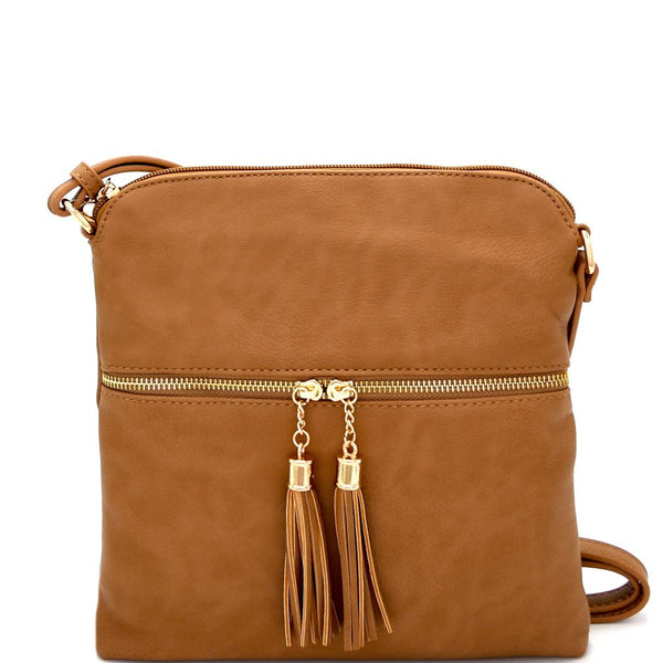 Tassel Zipper Pocket Accent Crossbody Messenger