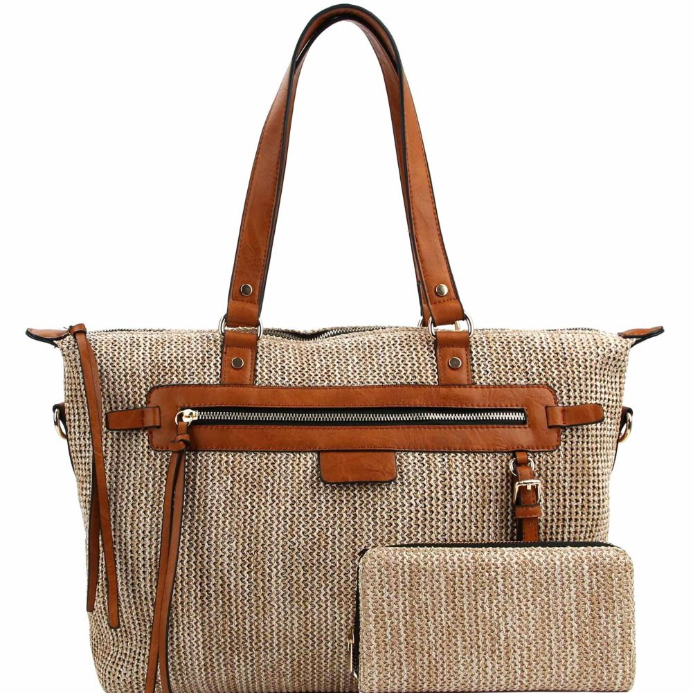 09181f93395 Knitted Straw Two-Tone Tote Bag and Wallet SET