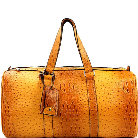 Ostrich Print Embossed 2 in 1 Weekender Duffel Bag Travel Bag