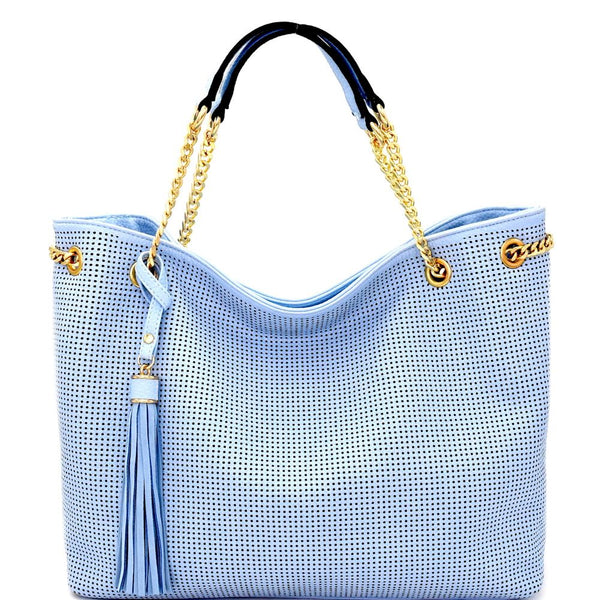 Tassel Accent Perforated Chain Tote Light-Blue