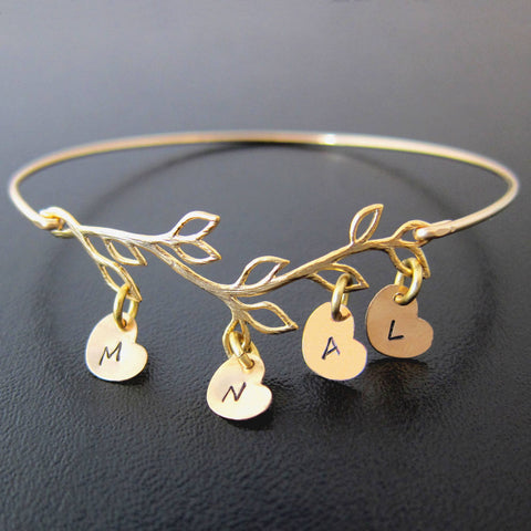 49a218513277 ... Image of Family Tree Bracelet for Mom with Hand Stamped Initial Heart  Charms-FrostedWillow ...