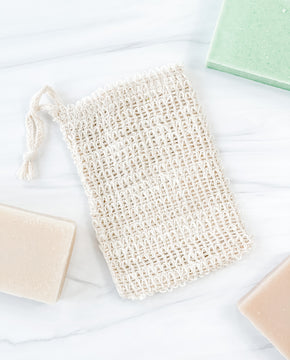 Bar Soap with Woven Exfoliating Soap Bag