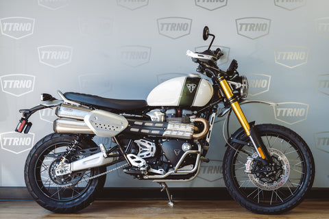 2019 Triumph Scrambler 1200 XE Showcase - Fusion White/Brooklands Green