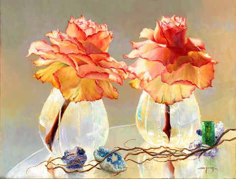Rose Reflections with Quartz Geodes - Artistic Transfer, LLC