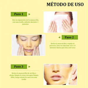 Mascarilla facial, dorada, natural, antiarrugas, reafirmante