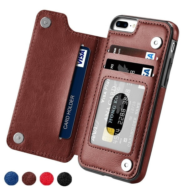 High-grade Business Men Women Magnetic Leather Wallet Case Card Slot Shockproof Flip Cover for iPhone