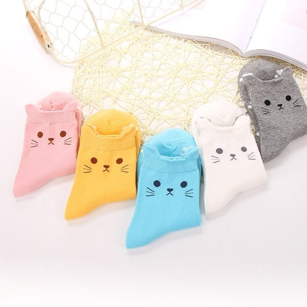 Cute Cartoon Socks Stereo Cat Ear Candy-colored Cotton Socks