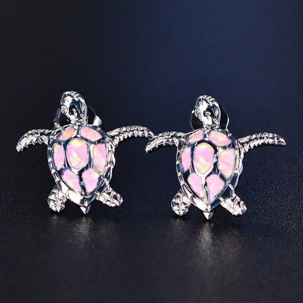 Cute Sea Turtle Blue Opal Earrings Fashion Women Wedding Party Jewelry Birthday Gift Turtle Stud Earrings